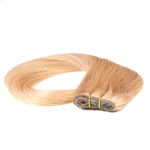 hair2heart Tresse / Weft aus Echthaar, 100g, 60cm, glatt - Farbe 12 honigblond