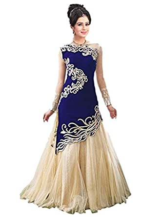 Fresh@Fashion Women's Semi Stitched Georgette 2 Piece Gown (fs1010) (Blue & Cream) (Free Size)
