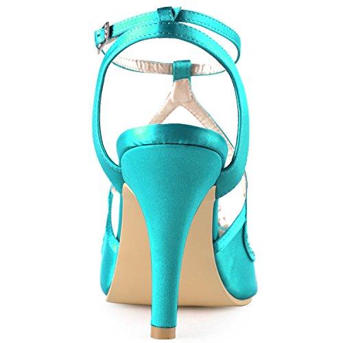 Elegantpark EP11058 Bout Ouvert Satin Perle Strass Aiguille Talon Pumps Femme Sandales Chaussures de Mariage sarcelle