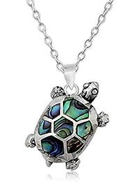 EYS JEWELRY® Damen-Halskette Schildkröte 24 x 13 mm Abalone Paua Muschel 925 Sterling Silber grün-blau türkis im Etui Damenkette Anhänger