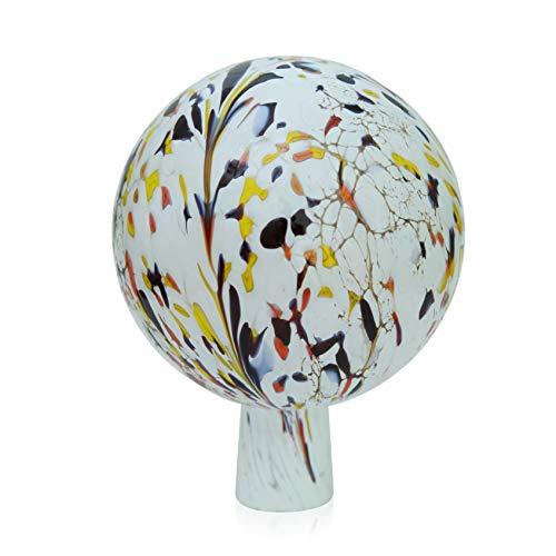 Lauschaer Glas Gartenkugel Rosenkugel aus Glas mit Granulat weiß d 15cm mundgeblasen handgeformt