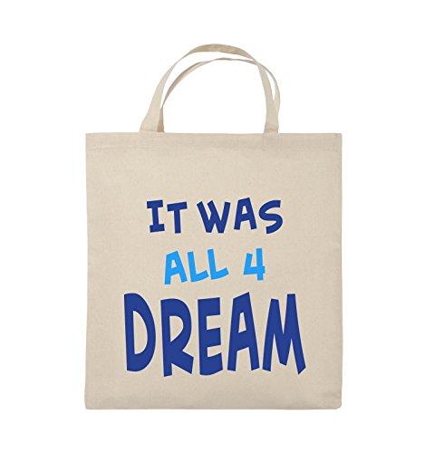 Comedy Bags - It was all four dream - KLEINE ZAHL - Jutebeutel - kurze Henkel - 38x42cm - Farbe: Schwarz / Weiss-Neongrün Natural / Royalblau-Hellblau