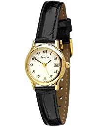Accurist Women's Quartz Watch with White Dial Analogue Display and Black Leather Strap Ls630