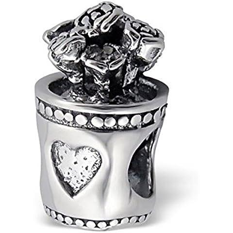 Silvadore, colore: argento-Vaso da fiori a forma di cuore, bordi con motivo a pois, in argento Sterling 925 con Charm scorrevole 729-Braccialetto Pandora europea in confezione regalo