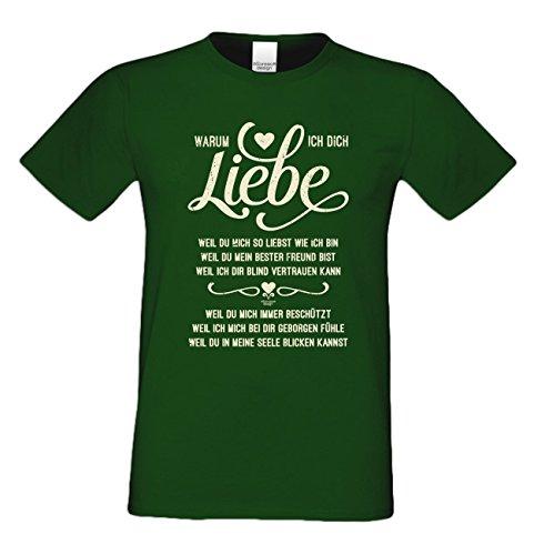 Geschenk zum Valentinstag für Ihn T-Shirt Warum ich Dich liebe Geschenkidee Geburtstag Übergröße Mode für mollige Herren Farbe: dunkelgrün Dunkelgrün