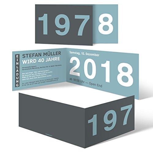 30 x Runder Geburtstag Einladungskarten 40 Jahre Geburtstagseinladungen - Jahrzehnt Sprung