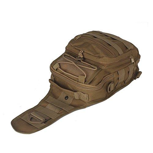 innturt tattico Molle Sling Borsa a tracolla multifunzione zaino trekking camping bag, Grey Brown