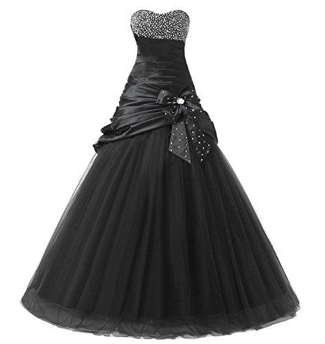 Kmformals Damen Perlen Ball Ballkleid Formelle Abendkleid Größe 36 Schwarz (Abendkleid Voll Perlen Gefüttert)