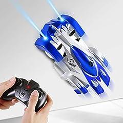 Idea Regalo - SGILE Auto Telecomandata, 4WD RC Auto con 360 Rotazione Scalatore, 2 modalità Wall/Floor e 4 Luci a LED, Auto Racer, Regalo di Natale per Bambini, Blu