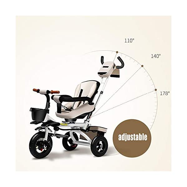 Sunzy Children's hand-pushing tricycle, 360-degree rotating disassembly and reclining baby bicycle, suitable for children from 6 months to 6 years old  The seat can be rotated, even if the two-way implementation of humanization during walking, the parents can always pay attention to the baby's every move, one-click to open the rotating function, 360 ° full landscape. The backrest angle can be adjusted freely from 100° to 170° to suit your baby's needs. Equipped with storage function and folding system for easy travel, inflatable rubber tires, explosion-proof and stab-resistant 3