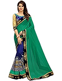 Saree Center Georgette Saree With Blouse Piece (Sc_Parchhay_Green_Free Size)