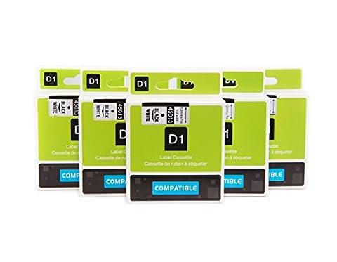 5 Rubans Cassettes Compatible pour Dymo 45013 Ruban pour Étiquette S0720530 Auto-adhésif 12mm 7m Noir sur Blanc pour Labelmanager Labelpoint LM100 LM120P LM150 LM160 LMPC2 LM200 LM210D LM220P LM260 LM280 LM300 LM350 LM400