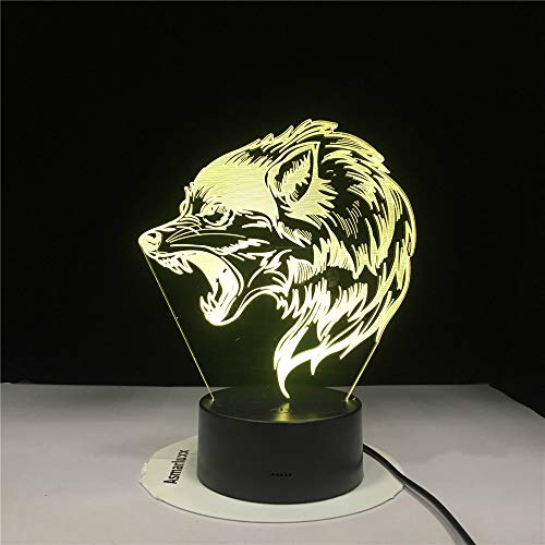 KangYD Fierce Wolfs 3D Lampada da tavolo, Lampada da notte a LED a sospensione, Decorazioni per comodino, Base audio Bluetooth 5 colori,Lampada visiv