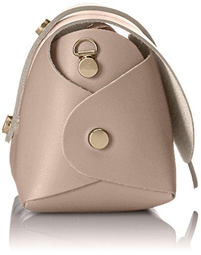 CTM Pochette a spalla da Donna, borsetta con tracolla, vera pelle made in Italy - 18x11x9 Cm Rosa