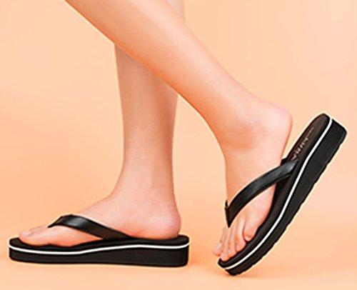 Aisun Femme Mode Clip Toe à Talon Compensé Tongs Noir