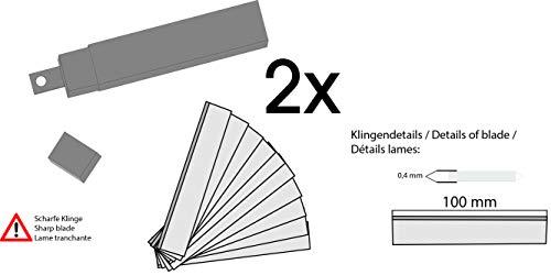 Farbschaber Ersatzklingen 100 mm - 20 St. - 2 Köcher Tapetenschaber Bodenschaber