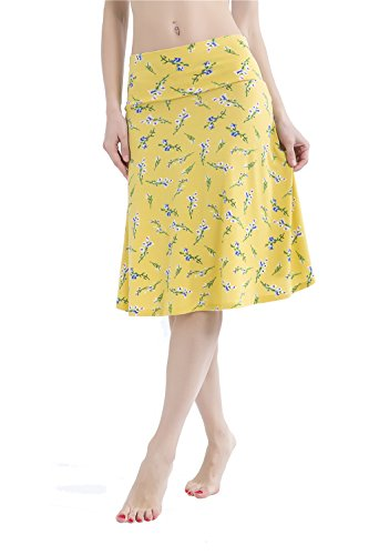 Yeemiee Women's High Waist Fold-Over Jersey Knit Yellow Floral Print Flare Midi Skirts S (Knit Flare Skirt)