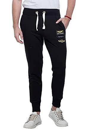 Alan Jones Clothing Army Badge Men's Cotton Joggers Track Pants (JOG18-BGD01-BCK-XL, X-Large, Black)