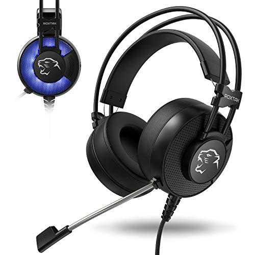 Gaming Headset, ROXTAK Gaming Kopfhörer mit Mikrofon|Virtual 7.1 Surround-Sound Stirnband|LED-Beleuchtung|3,5mm Klinke für PS4 Pro/PS4 Xbox One PC Laptop Tablet Mac Handy