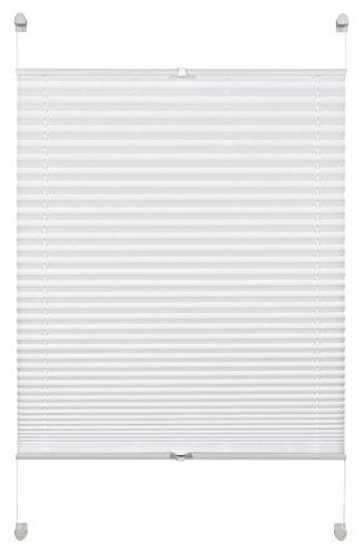 Deco Company Plissee zum Klemmen, Blickdichtes Faltrollo, Alle Montage-Teile inklusive, Plissee verspannt mit zwei Bedienschienen, Weiß, 110 x 130 cm - Weiße Holz-jalousien