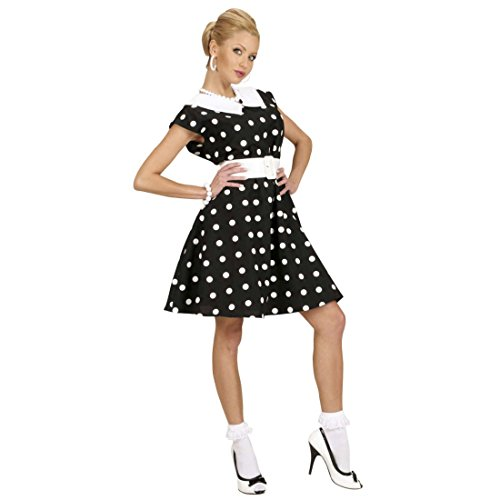 Amakando Rockabilly Damenkostüm schwarz-Weiss gepunktet 50er Jahre Petticoat Kleid L 42/44 50er Mode Kleider Rockabella Kostüm Damen Rock n Roll Outfit Pin Up (Pin Up Outfit)