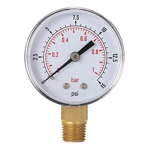Mini-Niederdruckanzeige für Kraftstoff Luft Öl oder Wasser 50mm 0-15 PSI 0-1 Bar