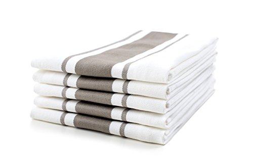 Sticky Toffee Asciugamani da Cucina in Cotone 100% | Set di 5 Asciugamani da Cucina | 50 x 70 cm | Cappuccino Grigio | Assorbente...