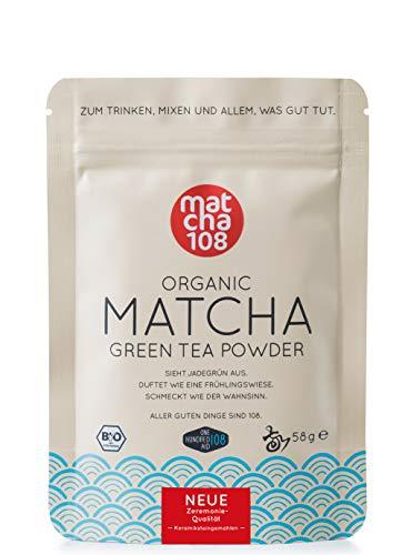 Matcha Pulver Tee 108 – Bio Zeremonie Qualität (für milden Teegenuss) – Ideal auch für Smoothies und Lattes – Zertifiziertes Grüntee Pulver [58g Ceremonial Grade Green Tea]