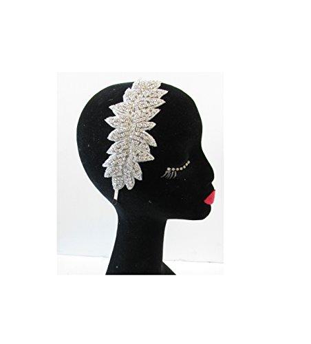 Argent Feuilles Strass Bandeau Bandeau style vintage années 1920 Flapper Diamante T39 * * * * * * * * exclusivement vendu par – Beauté * * * * * * * *