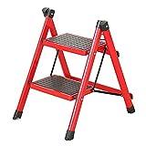 LXF Stehleitern Red Folding 2 Pedal Hocker, Tragbare Rutschfeste Schuhbank Aus Aluminiumlegierung, 41x52x60cm