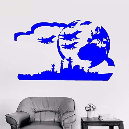 Vinile Adesivo Portaerei Portaerei da Guerra Militare Città di Guerra Bambini Camera Ragazzo Adesivi Decorazioni per la casa F 1 42X64 CM