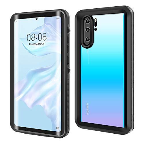 ODLICNO Huawei P30 Pro Hülle, IP68 Wasserdicht Stoßfest Staubdicht Schneefest Ultradünn Leicht Handyhülle Outdoor Unterwassergehäuse Full Body Schutzhülle für Huawei P30 Pro (Schwarz)
