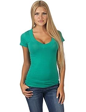 Hollywood Star Fashion - Camiseta de manga corta con cuello en V