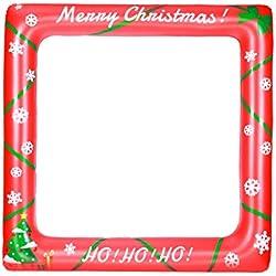 BESTOYARD Cornice gonfiabile di Natale Festa di Natale Photo Booth Props Blow Up Party Puntelli Party Selfie Cornice 71cm x 71cm