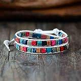 CMAO Boho Frauen Armband Hochwertige Mischung Naturstein 2 Stränge Leder Wickelarmbänder Vintage Weben Perlenarmband Handgefertigt,Pure Love