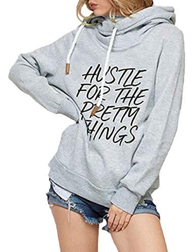 Langarm Frühling Locker Gedruckt Kapuzenpullover Buchstabe Unisex Stilvolle Unikat Kapuzensweater Plus Size Classic (Color : Grau, Size : S) ()