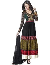 Adah Fashions Womens Georgette Anarkali Dress Material (460-7515 -Black -Free Size)