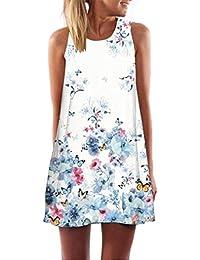 SHOBDW Vestido de Mujer Vintage Boho Mujer Verano sin Mangas Beach Printed Mini Vestido Corto Delgado