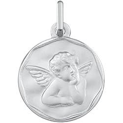 www.diamants-perles.com - Médaille Baptème - Médaille religieuse - Angelot- Or Blanc - 375/1000