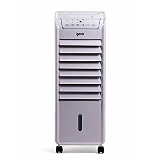 Igenix IG9703 Portable Air Cooler with Remote Control and LED Display, 3 Fan Speeds with Oscillation Function, 7 Hour Timer and 6 Litre Water Tank for Home or Office Use, White