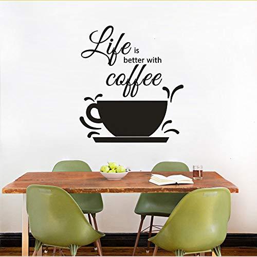Shuyinju Kaffee Design Wandtattoo Cafe Shop Dekoration Kaffee Text Wand Fenster Aufkleber Das Leben Ist Besser Mit Kaffee Zitat Wandbild 42 * 47 Cm