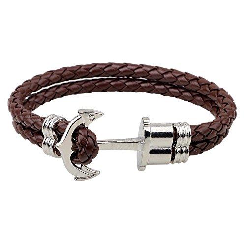 Argento Marrone Ancoraggio in lega in vera pelle Bracciale braccialetto corda catena per uomini e donne
