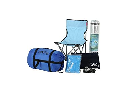 Complete camping kit: The Lazy Buddy - sleeping bag, chair, mat, torch, raincoat, pillow. Perfect for
