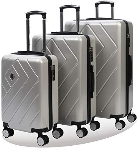 Set di trolley rigidi con doppie rotelle girevoli   trolley con motivo geometrico   lucchetto tsa integrato   valigia donna/uomo   set da 3 pezzi 55 cm 68 cm 78cm   silver tek