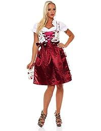 10593 Fashion4Young Dirndl 3 tlg.Trachtenkleid Kleid Mini Bluse Schürze Trachten Oktoberfest
