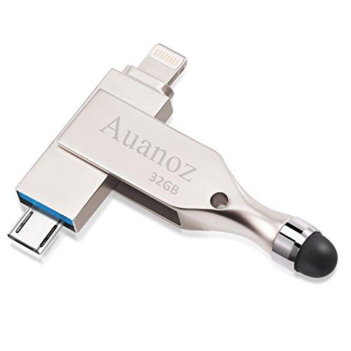 IOS Flash Drive 32 GB USB 3.0 Memory Stick Mit Induktiver Touch-Kopf, Lightning Connector Bereit Für iPhone iPad Android und PC, Auanoz Externen Speicher Memory Stick (Silber)