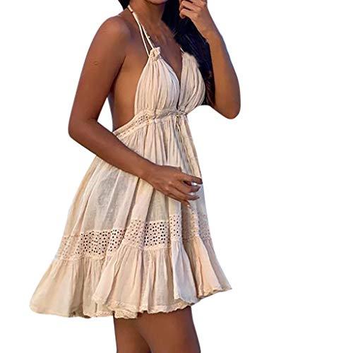 SHE.White V Ausschnitt Kleid Damen Sexy Hängender Hals Spitzenkleid Träger Rückenfreies Kleider Boho Sommerkleider Strandkleider Beige Faltenrock Kleid