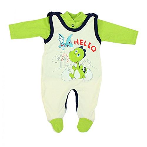 Baby Strampler mit Spruch I love Mum and Dad oder mit Aufdruck 2-tlg. Stramplerset mit Oberteil, Farbe: Dino Grün, Größe: (Strampler Grüner)