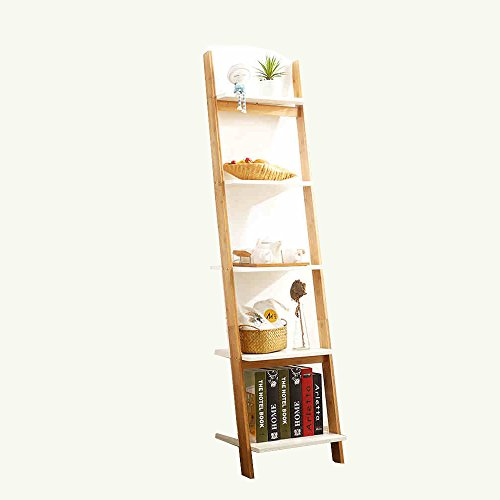 Shelves Duo Bücherregal 4-Tier-Bücherregal Weiße Leiter Regal Regal Regal Regale Lehnendes Bücherregal Robust, Modern & Multi-Use für jedes Zimmer Indoor Hängeregal, (Farbe : Holzfarbe) (4-tier-bücherregal)