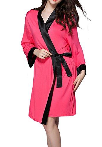 Nicetage Damen Morgenmantel Kimono Nachtwäsche Bademantel Schlafanzug Robe Nachthemd Hausmantel Wassermelone Rot